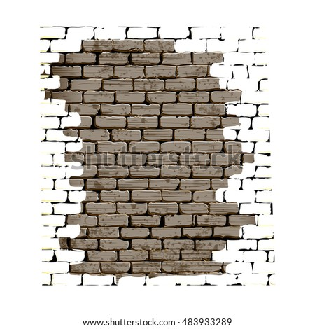 Background Old Brick Wall Cracked Crumbling Stock Vector 469437095 Shutters