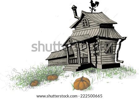 old broken-down, scary halloween house with an overgrown vegetable garden and pumpkins - stock vector