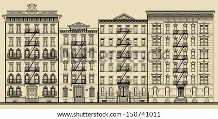 Old building and facades of new york - totally fictitious vector illustration - stock vector