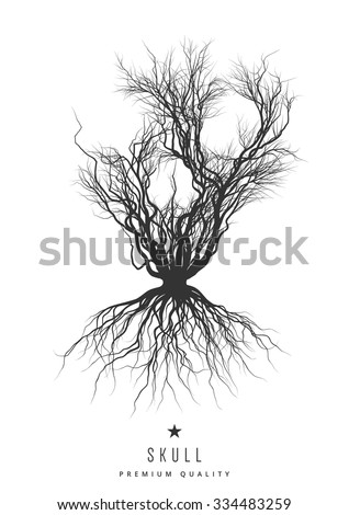 Old bush without leaves in the form of a skull