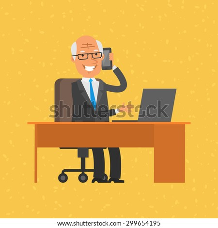 Old businessman talking on phone - stock vector