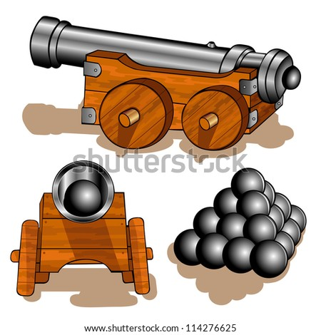 old cannon ball - stock vector