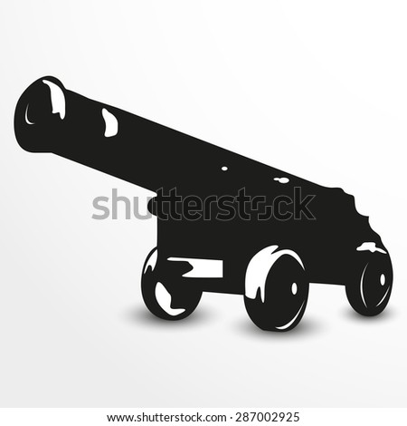 Old cannon. Vector illustration. Black and white view. - stock vector