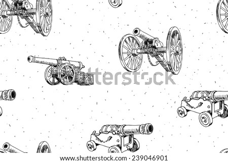 Old cannons vector drawings seamless pattern - stock vector