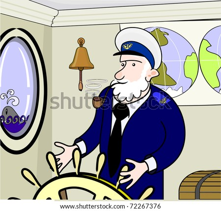old captain - stock vector