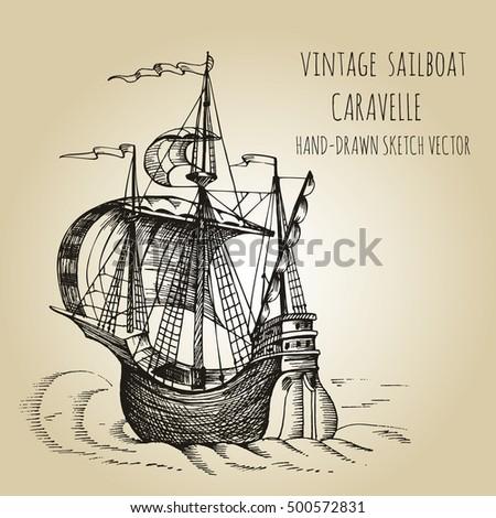 Vintage Sailboat Sketch Sailing Tall Sh...