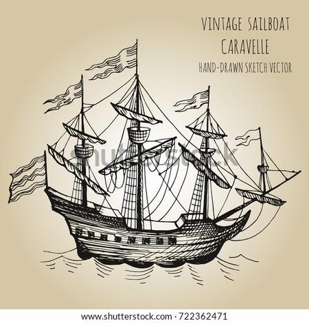 Vintage Sailboat Sketch Vintage Old Shi...
