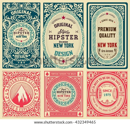 Old cards set with floral details.  - stock vector