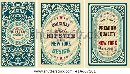 Old cards set with floral details. Elements organized by layers. - stock vector