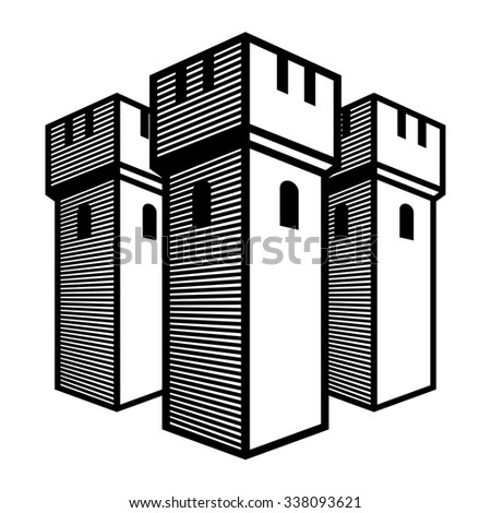 Old castle - ancient temple, stone walls, towers - stock vector