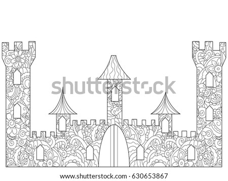 Old Castle Coloring Book Adults Vector Stock Vector 630653867 ...