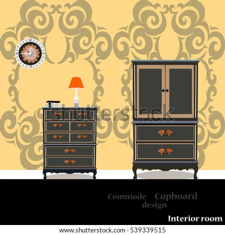 Old chest of drawers, cupboard icon, interiror room, symbol furniture, vector illustration