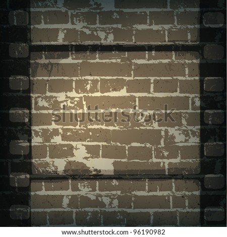 Old cinema abstract background. Film strip on brick wall. - stock vector