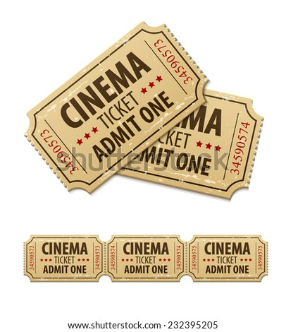 Old cinema tickets for cinema. Eps10 vector illustration. Isolated on white background - stock vector