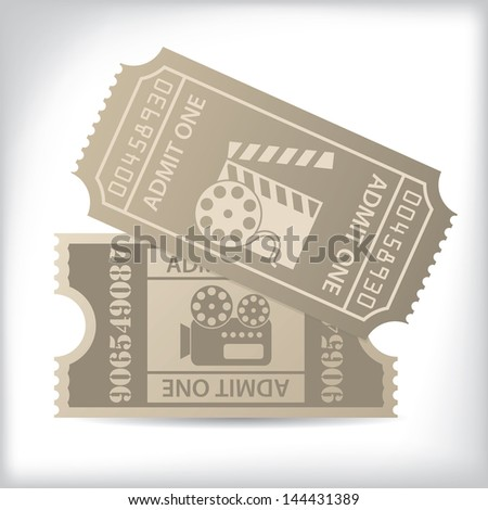 Old cinema tickets with icons and text - stock vector