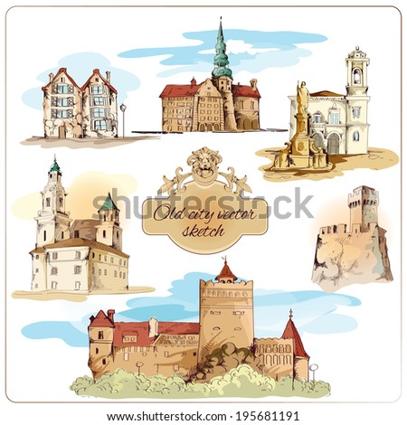 Old city buildings colored sketch decorative elements set isolated vector illustration - stock vector