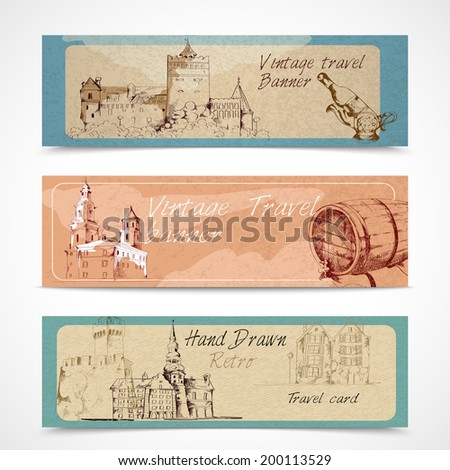 Old city buildings sketch decorative banners set isolated vector illustration - stock vector