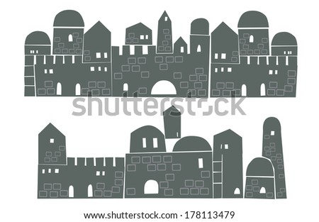 Old City, Middle East, Ancient, Stylization, Illustration - stock vector