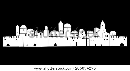 Old City, Middle East, Ancient,  Vector Illustration - stock vector