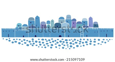 Old City, Middle East Town, Vector Illustration - stock vector
