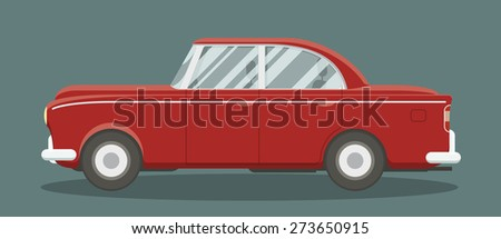 Old classic brandless automobile side view. Cartoon style vector illustration. - stock vector