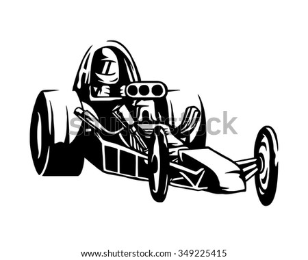 Stock Vector Old Classic Race Car Character Illustration Logo Icon Vector