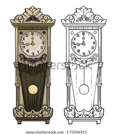 grandfather clock drawing