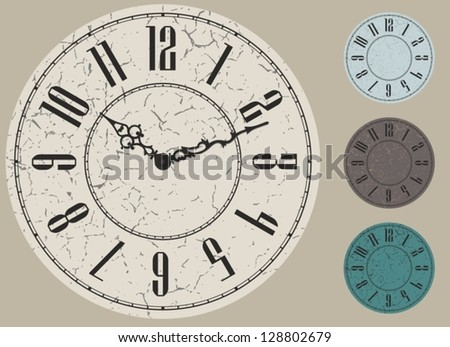 old clock face vector kit, four color options - stock vector