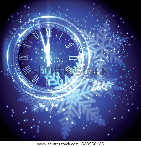 Old clock holiday lights at New year midnight. - stock vector