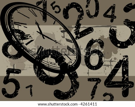 Old clock with number and  a grunge background - stock vector