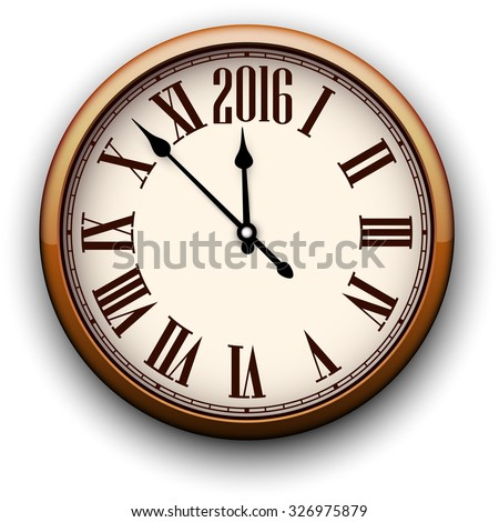 Old clock with roman numbers. Happy 2016 year. Vector illustration.  - stock vector