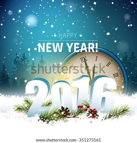 Old clocks and 3D numbers in the snow - Happy New Year 2016 - stock vector