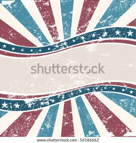 Old Colors American Wave in grunge style - stock vector