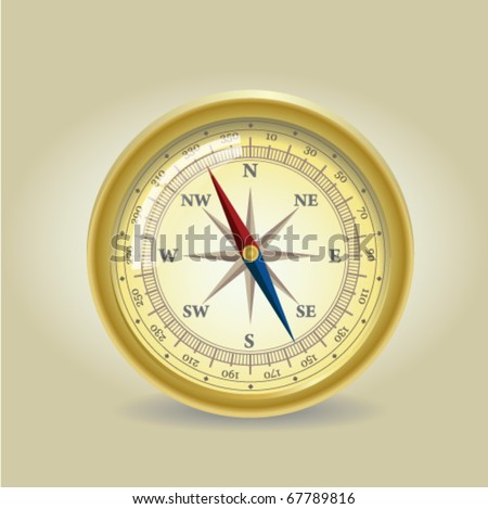 Old Compass - stock vector