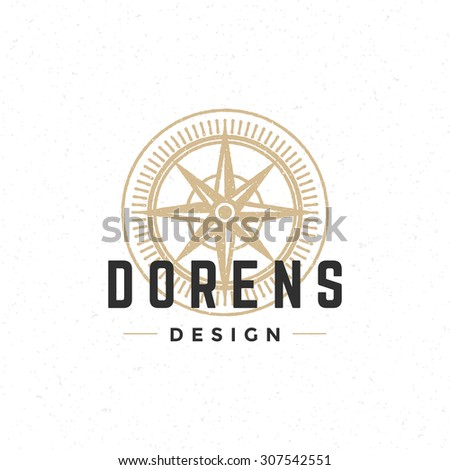Old compass logo hand drawn vintage design element for labels, badges, stickers, emblems vector illustration. - stock vector