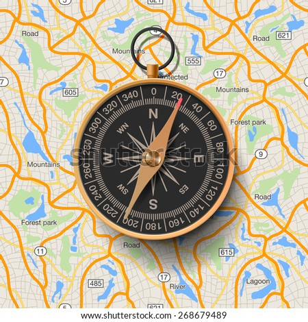 Old compass on map background, vector illustration. - stock vector