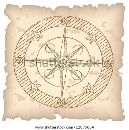 Old compass on paper background. Vector illustration.