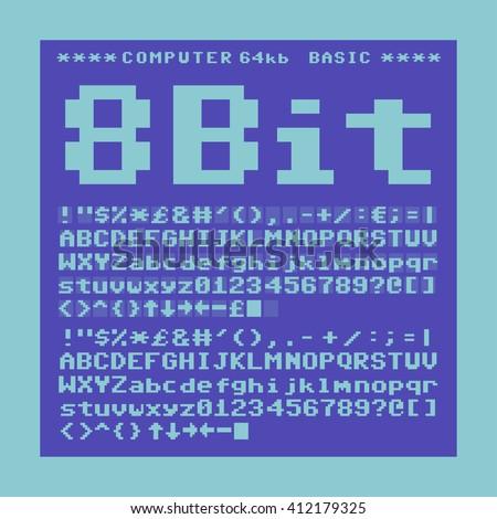 Old computer pixelate font. 6x6 pixels glyphs charset, bold style vector set. - stock vector