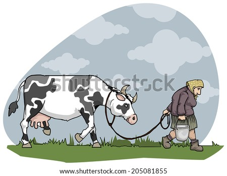 Old country woman taking a cow home for milking, vector illustration - stock vector
