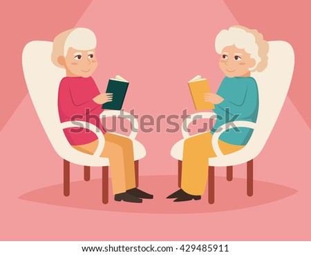 Old couple. Reading.  Vector illustration in flat style. Image for booklets, brochures, flyers, websites. Cartoon character.