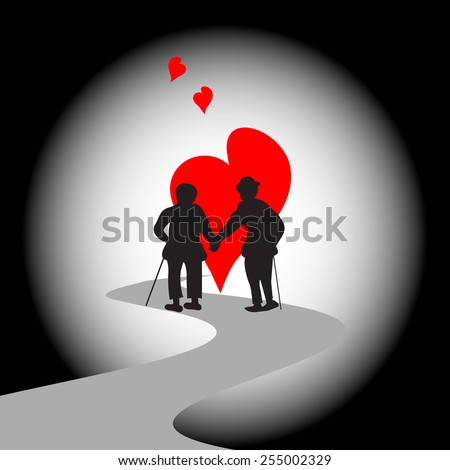Old couple-silhouette of happy elderly couple walking together - stock vector
