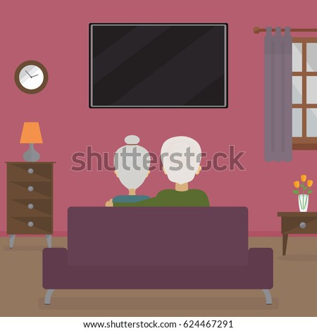 Old Couple Sitting On Couch Watching Stock Vector 624467291 ...