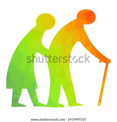 old couple symbol silhouette vector pictogram - stock vector