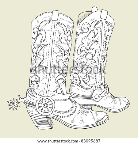 Old Cowboy boots - stock vector