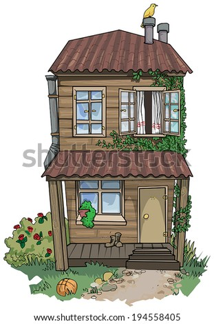 Old cute hand drawn house, vector illustration