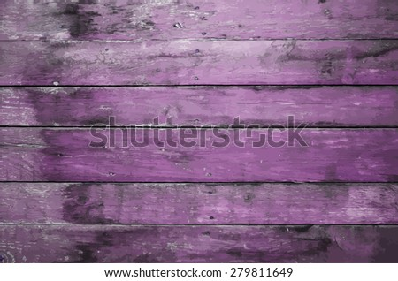 old dirty wooden wall, purple background, vector - stock vector
