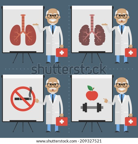 Old doctor indicates on flipchart infographics - stock vector