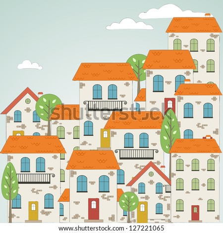 Old drawn city background with clouds. Vector - stock vector