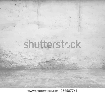old empty room with concrete wall, grey interior background, vector - stock vector