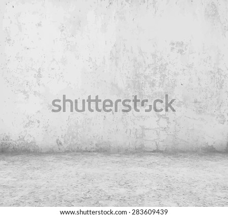 old empty room with concrete wall, vector - stock vector
